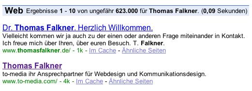 """Screenshot zeigt to-media als Zweitplazierung für """"Thomas Falkner"""""""