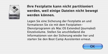 Bootcamp Fehlermeldung beim Versuch die Systempartition zu verkleineren