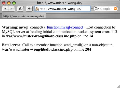 Mr Wong Fehlermeldung